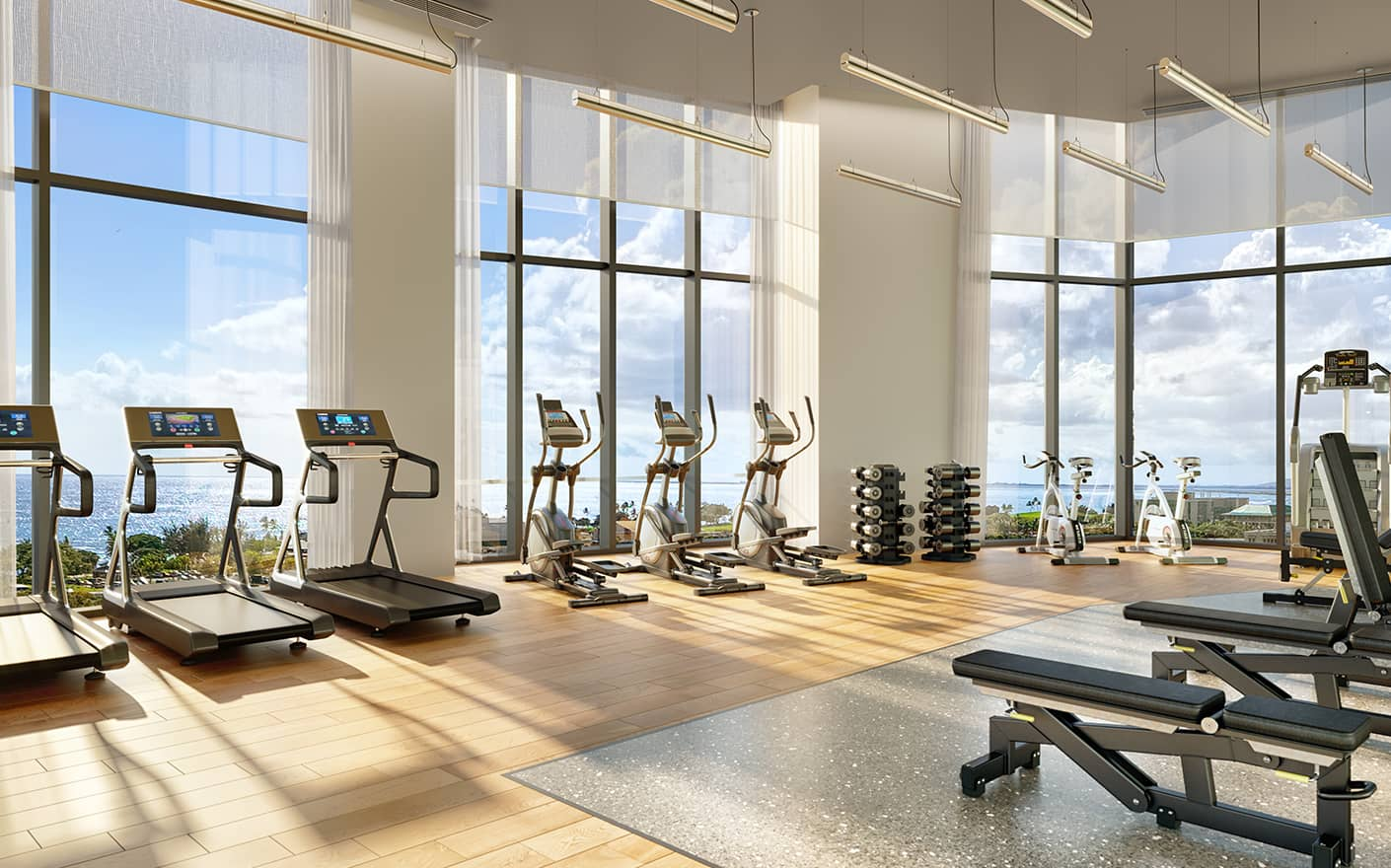 The Fitness Center overlooking the Pacific Ocean