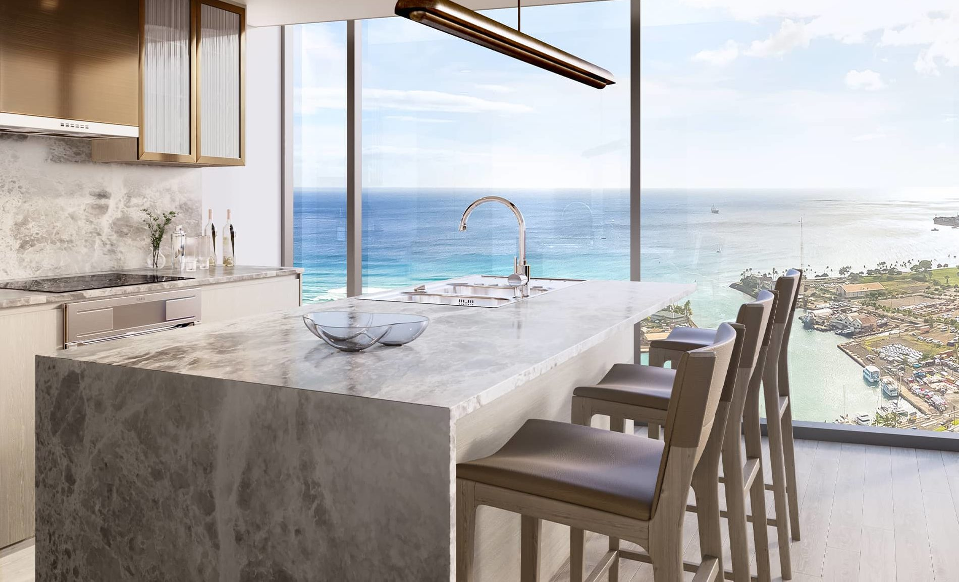 Kitchen overlooking the Pacific Ocean